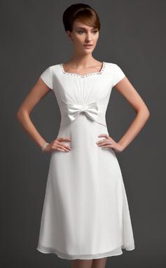 A-Lijn/Prinses Sweetheart Knie-Lengte De Chiffon Bruidsmeisjes Jurk met Roes Kraalwerk Strik(ken) (007020743)