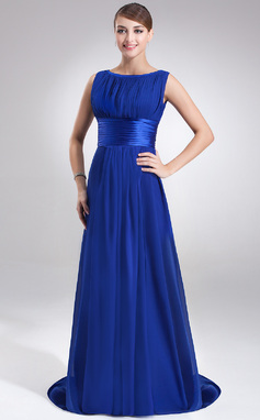 A-Line/Princess Scoop Neck Sweep Train Chiffon Evening Dress With Ruffle (017022545)