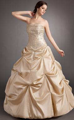 Платье для Балла Без лямок Длина до пола Тафта Пышное платье с Рябь Бисер аппликации кружева (021003125)