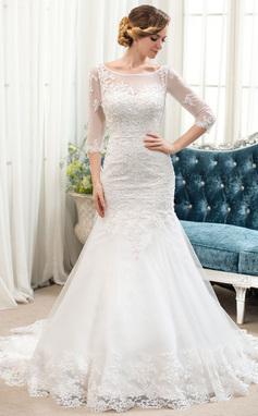 Trumpet/Sjöjungfru Rund-urringning Court släp Tyll Spetsar Bröllopsklänning med Pärlbrodering (002054364)