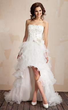 Corte A/Princesa Estrapless Asimétrico Organdí Vestido de baile de promoción con Encaje Bordado Flores (018009449)
