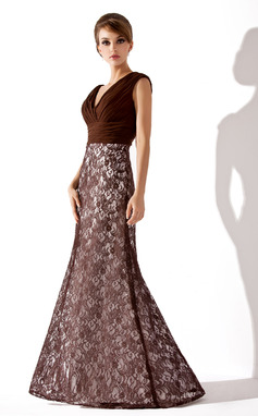 Trumpet/Mermaid V-neck Floor-Length Lace Mother of the Bride Dress With Ruffle (008005684)