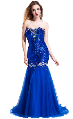 Trumpet/Mermaid Sweetheart Sweep Train Tulle Sequined Prom Dress With Beading (018025300)