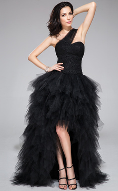 A-Line/Princess One-Shoulder Asymmetrical Tulle Prom Dress With Lace Beading Sequins Cascading Ruffles (018047386)
