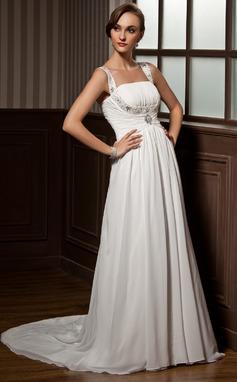 Corte A/Princesa Escote redondo Cola corte Chifón Vestido de novia con Volantes Bordado (002011505)