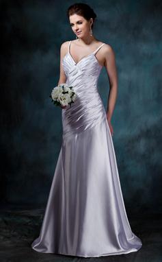 Vestidos princesa/ Formato A Decote V Cauda de sereia Charmeuse Vestido de noiva com Pregueado (002011641)