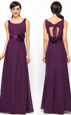 A-Line/Princess Scoop Neck Floor-Length Chiffon Bridesmaid Dress With Ruffle Flower(s) (007052240)