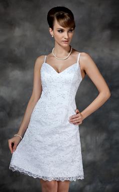 Forme Fourreau Bustier en coeur Longueur genou Dentelle Robe de mariée avec Emperler Sequins (002000222)