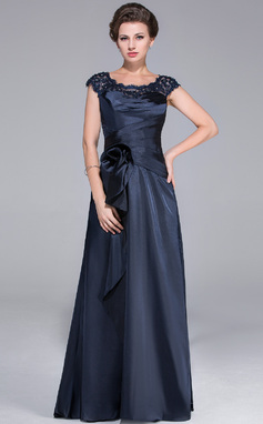 A-Line/Princess Scoop Neck Sweep Train Charmeuse Mother of the Bride Dress With Ruffle Lace Beading Flower(s) Cascading Ruffles (008025519)