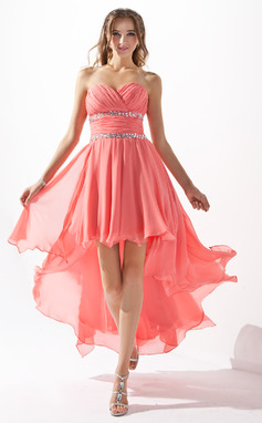 Vestidos princesa/ Formato A Coração Assimétrico De chiffon Vestido de boas vindas com Pregueado Bordado (022009591)