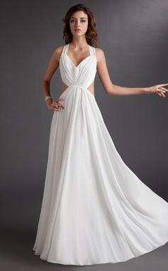Vestidos princesa/ Formato A Coração Longos De chiffon Vestido de festa com Pregueado (017016725)