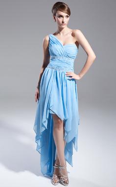 A-Linie/Princess-Linie One-Shoulder-Träger Asymmetrisch Chiffon Abiballkleid mit Perlen verziert Gestufte Rüschen (018015019)