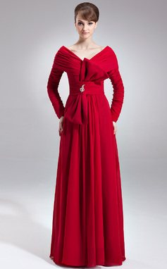 A-Line/Princess Off-the-Shoulder Floor-Length Chiffon Mother of the Bride Dress With Ruffle Beading Bow(s) (008025993)