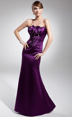 Trumpet/Mermaid Strapless Floor-Length Satin Evening Dress With Beading (017014673)