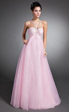 Empire-Linie V-Ausschnitt Bodenlang Organza Festliche Kleid mit Rüschen Perlen verziert (020015074)