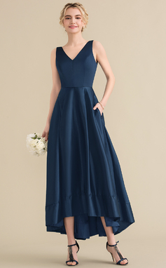 A-Line/Princess V-neck Asymmetrical Satin Bridesmaid Dress (007131061)