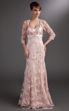 Trumpet/Mermaid Sweetheart Floor-Length Lace Mother of the Bride Dress With Ruffle Beading Sequins (008006523)