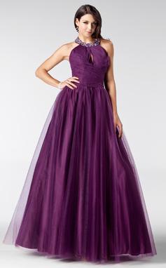Corte A/Princesa Cabestro Hasta el suelo Tul Vestido de baile de promoción con Volantes Cuentas (018135543)