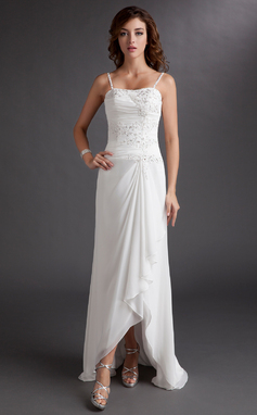 A-Line/Princess Sweetheart Asymmetrical Chiffon Wedding Dress With Beading Appliques Lace Sequins Cascading Ruffles (002012020)