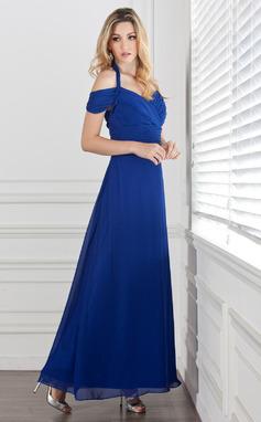 Forme Princesse Dos nu Longueur cheville Mousseline Robe de soirée avec Plissé (017005287)