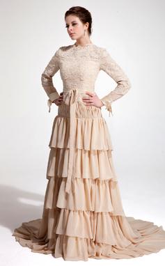 Vestidos princesa/ Formato A Frente única Cauda de sereia De chiffon Renda Vestido de festa com Curvado Babados em cascata (017020660)