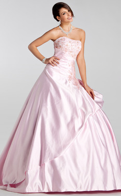 Ball-Gown Sweetheart Court Train Satin Wedding Dress With Embroidered Ruffle Beading Sequins (021005232)