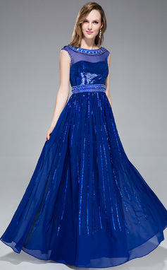 A-Line/Princess Scoop Neck Floor-Length Chiffon Sequined Prom Dress With Beading (018046237)