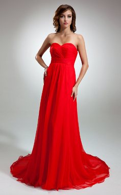 Vestidos princesa/ Formato A Coração Cauda de sereia De chiffon Vestido de festa com Pregueado (017016345)