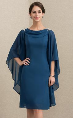 Tubo Cowl Neck Coquetel Tecido de seda Vestido para a mãe da noiva com Beading (008152156)