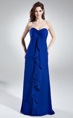 Empire-tyylinen Kullanmuru Lattiaa hipova pituus Sifonki Morsiusneitojen mekko jossa Laskeutuva röyhelö (007006366)