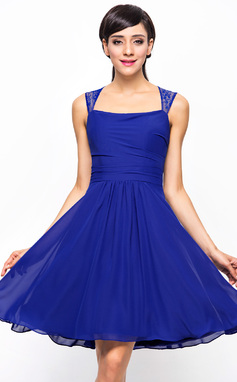 A-Line/Princess Square Neckline Knee-Length Chiffon Lace Bridesmaid Dress With Ruffle (007045439)