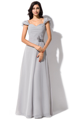 A-Line/Princess Sweetheart Floor-Length Chiffon Bridesmaid Dress With Flower(s) Bow(s) Cascading Ruffles (007051139)
