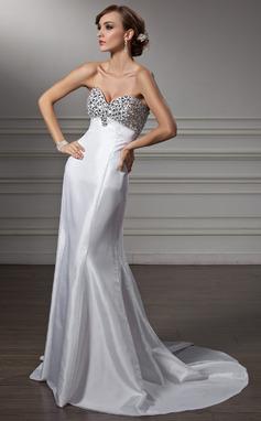 Corte imperial Escote corazón Barrer/Cepillo tren Tafetán Vestido de baile de promoción con Bordado (018005357)