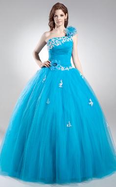 Платье для Балла Одно плечо Длина до пола Тюль Пышное платье с развальцовка аппликации кружева Цветы блестки (021016037)