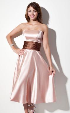 A-Line/Princess Strapless Tea-Length Charmeuse Bridesmaid Dress With Sash (007001915)