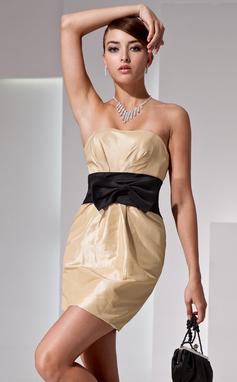 Платье-чехол Без лямок Мини-платье Тафта Платье для Встречи Выпускников с Рябь Лента Бант(ы) (022014422)