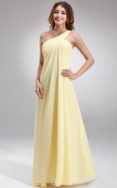 Império Um ombro Longos Tecido de seda Vestido de madrinha com Pregueado (007025146)