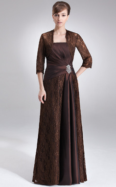 Sheath/Column Strapless Floor-Length Taffeta Lace Mother of the Bride Dress With Ruffle Beading (008006192)