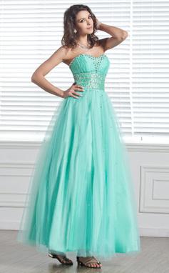 Vestidos princesa/ Formato A Coração Longuete Tule Vestido de Férias com Bordado (020026034)
