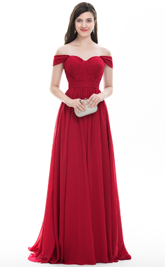 A-Line/Princess Off-the-Shoulder Sweep Train Chiffon Prom Dress With Ruffle (018105700)