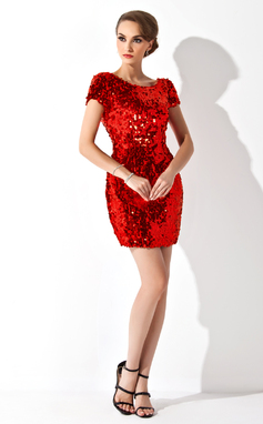 Sheath/Column Scoop Neck Short/Mini Sequined Cocktail Dress (016008376)