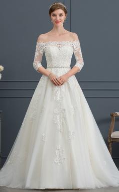 Платье для Балла/Принцесса Выкл-в-плечо Церемониальный шлейф Тюль Свадебные Платье с развальцовка (002171932)