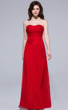 Sheath/Column Sweetheart Floor-Length Chiffon Bridesmaid Dress With Ruffle Flower(s) (007037167)
