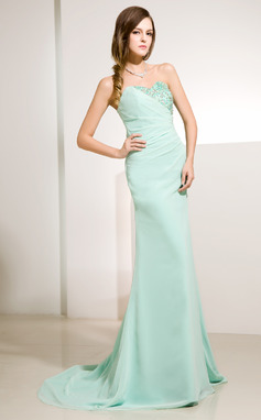 A-Line/Princess Sweetheart Sweep Train Chiffon Holiday Dress With Ruffle Lace Beading Sequins (020014220)