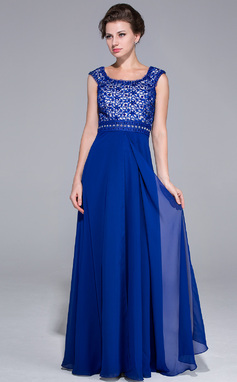 Vestidos princesa/ Formato A Decote redondo Longos tecido de seda Renda Vestido para a mãe da noiva com Bordado lantejoulas (008025760)