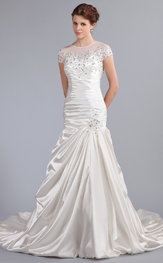 Trumpet/Mermaid Scoop Neck Cathedral Train Satin Wedding Dress With Ruffle Lace Beading Sequins (002025338)