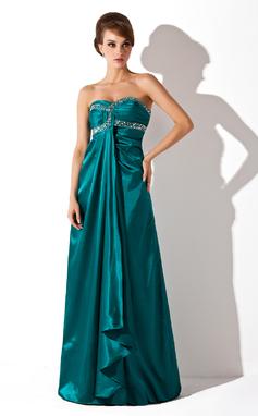 Empire Sweetheart Floor-Length Charmeuse Prom Dress With Ruffle Beading (018135248)