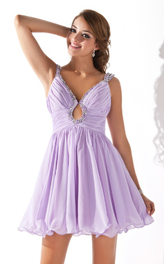 Vestidos princesa/ Formato A Decote V Curto/Mini Tecido de seda Vestido de boas vindas com Pregueado Beading lantejoulas (022020919)