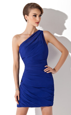 Sheath/Column One-Shoulder Short/Mini Chiffon Cocktail Dress With Ruffle (016008436)