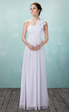 Empire One-Shoulder Floor-Length Chiffon Wedding Dress With Ruffle Flower(s) (002004475)